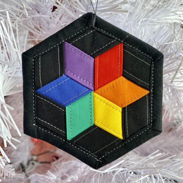 Gay Pride Woven Hexie Ornament
